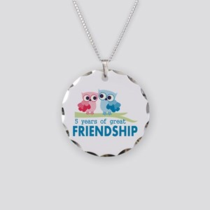 5th anniversary couple Necklace Circle Charm
