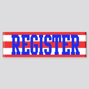 Red and White Stripes with Blue Text REGISTER Bump