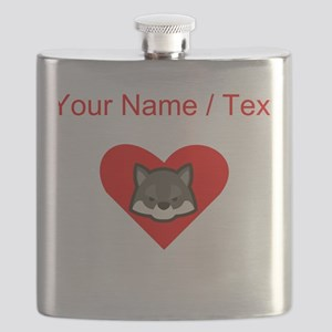 Custom Wolf Heart Flask