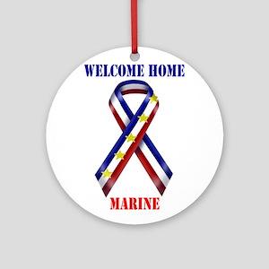 Ribbon2-marine Ornament (Round)
