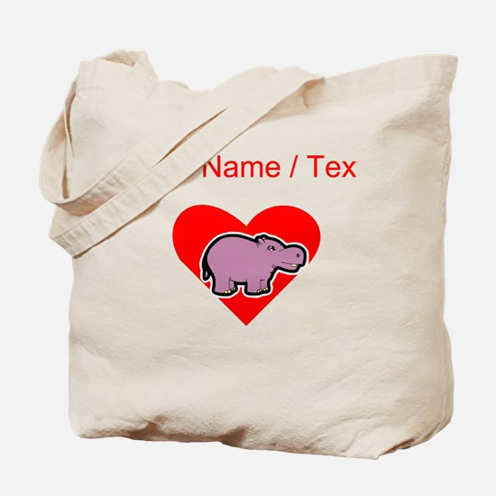 Custom Hippo Heart Tote Bag