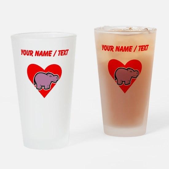 Custom Hippo Heart Drinking Glass