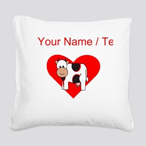 Custom Cow Heart Square Canvas Pillow