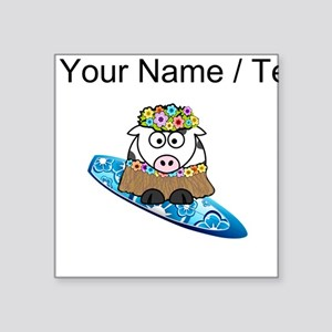 Custom Hula Cow Surfer Sticker