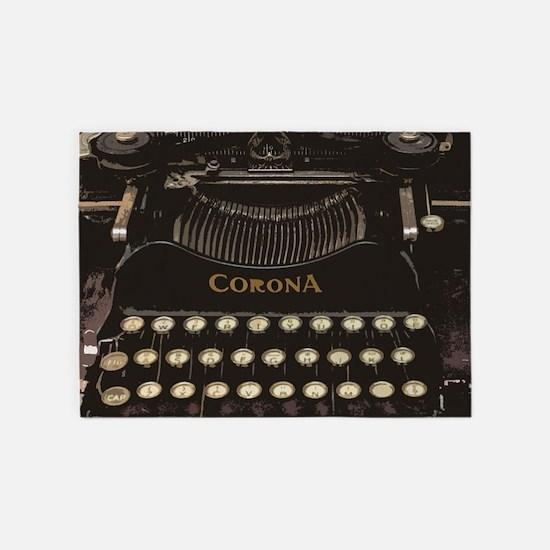 antique typewriter 5'x7'Area Rug