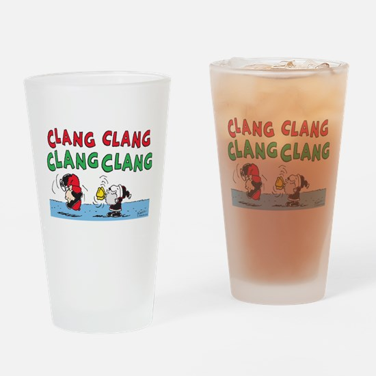 Snoopy and Lucy Christmas Drinking Glass