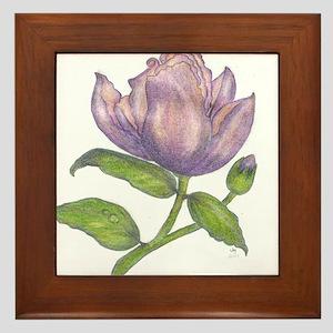Purple flower Framed Tile