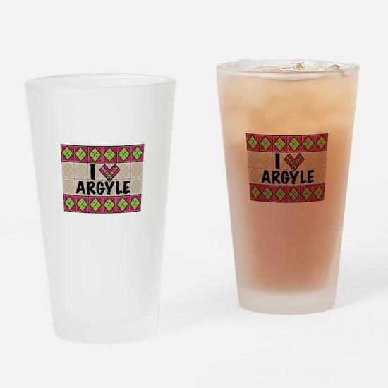 I Love Argyle Drinking Glass