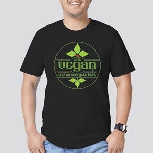 Eat Vegan and No One G Men's Fitted T-Shirt (dark)