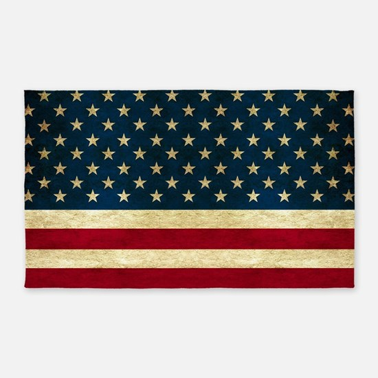 Tea-stained Antiqued American Flag 3'x5' Area Rug
