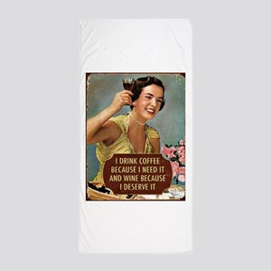Drink Wine Beach Towel
