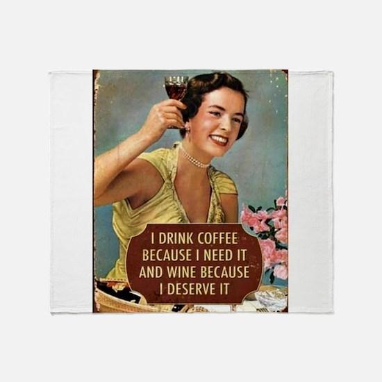 Drink Wine Throw Blanket