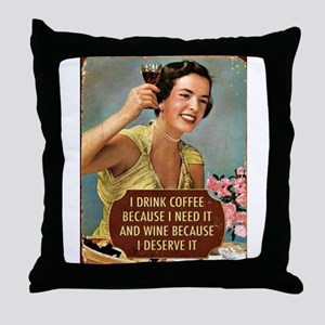 Drink Wine Throw Pillow