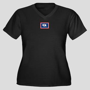 Wyoming flag Women's Plus Size V-Neck Dark T-Shirt