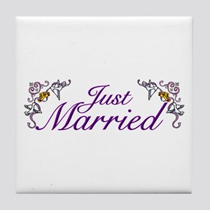 Just Married Purple Tile Coaster
