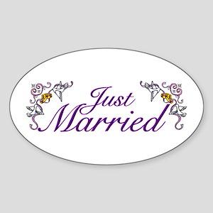 Just Married Purple Oval Sticker
