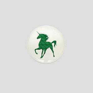Green Fire Unicorn Mini Button