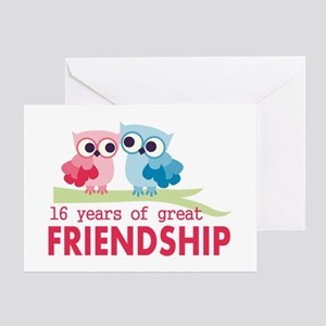 16th wedding anniversary greeting cards cafepress 16th wedding anniversary owls greeting card m4hsunfo