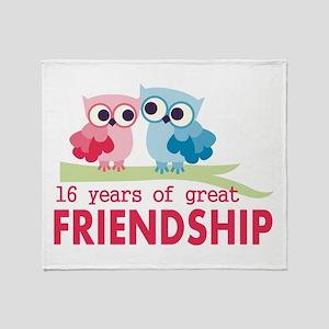16th Wedding Anniversary Owls Throw Blanket