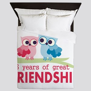16th Wedding Anniversary Owls Queen Duvet
