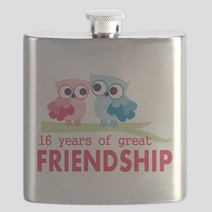 16th Wedding Anniversary Owls Flask