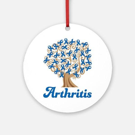 Arthritis Blue Ribbon Tree Ornament (Round)
