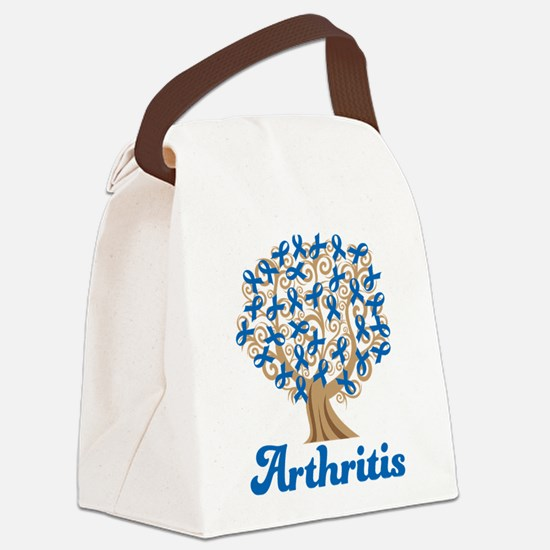 Arthritis Blue Ribbon Tree Canvas Lunch Bag