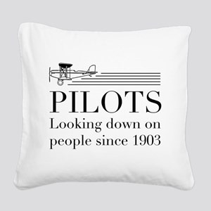 Pilots looking down people Square Canvas Pillow