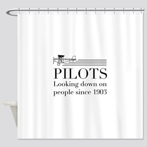 Pilots looking down people Shower Curtain