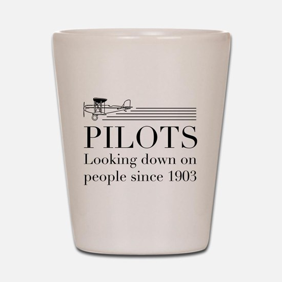 Pilots looking down people Shot Glass