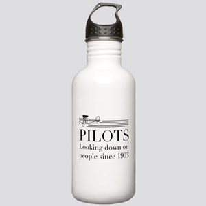 Pilots looking down people Water Bottle