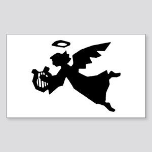 Angel With Harp Rectangle Sticker