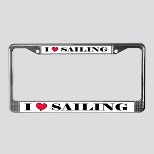 """I Love Sailing"" License Plate Frame"