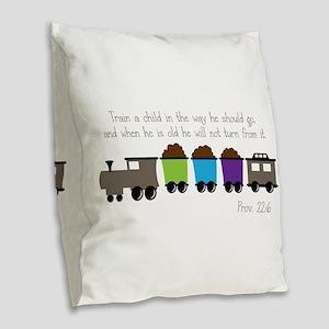 Train A Child Burlap Throw Pillow