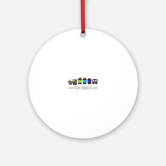 =Train Conductor= Ornament (Round)