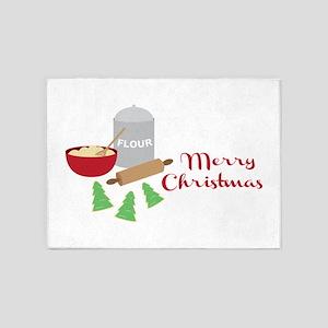 Merry Christmas Cookies 5'x7'Area Rug