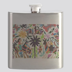 Otomi ladies on horses Flask