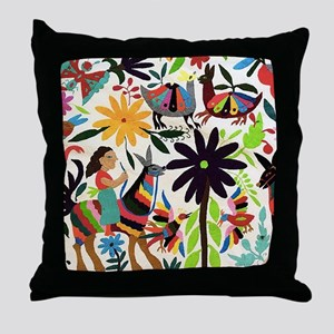 Otomi ladies on horses Throw Pillow