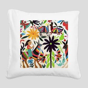 Otomi ladies on horses Square Canvas Pillow