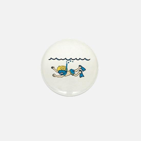 Snorkeler Underwater Mini Button