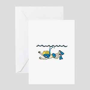 Snorkeler Underwater Greeting Cards