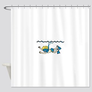 Snorkeler Underwater Shower Curtain