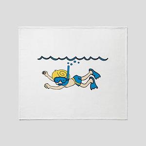 Snorkeler Underwater Throw Blanket