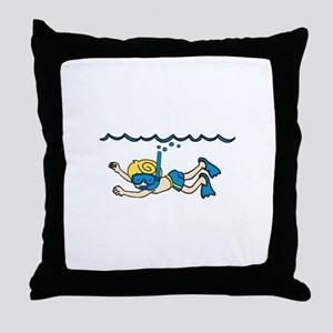 Snorkeler Underwater Throw Pillow