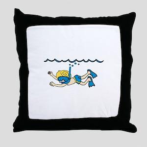 Snorkeler Underwater Throw Pillow