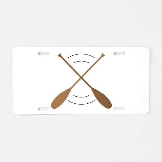 Crossed Canoe Paddles Aluminum License Plate