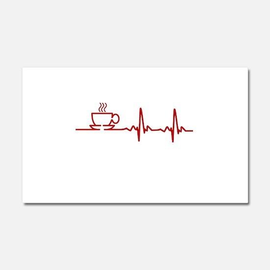 Morning Coffee Heartbeat EKG Car Magnet 20 x 12