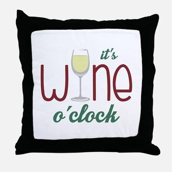 Wine OClock Throw Pillow
