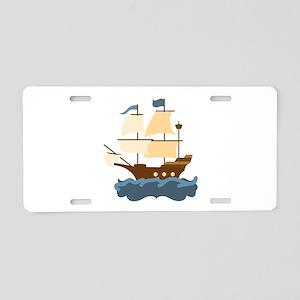 Wooden Ship Aluminum License Plate