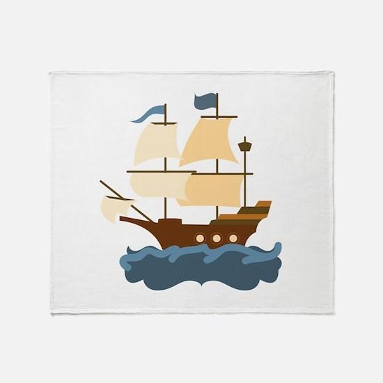 Wooden Ship Throw Blanket